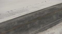 Dangerous Winter Roads in Downslope Wind Storm Stock Footage