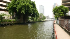 Empty concrete walkway, dense tropical tree, inner city canal in Bangkok Stock Footage