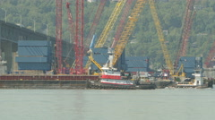 4K New Tappan Zee Bridge Tugboat and Barge Stock Footage