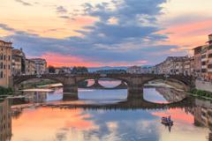 Arno River at dusk, Florence, Italy - stock photo