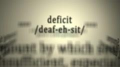 Definition: Deficit - stock footage