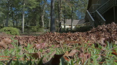 Raking Fall Leaves Low Angle Shot Stock Footage