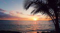Stock Video Footage of Beauitful Seascape Sunset over the Hawaiian Islands