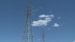 Looking Up at Power Transmission Lines Summer Day Stock Footage