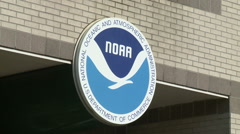Logo for the National Oceanic and Atmospheric Admisistration (NOAA) - stock footage
