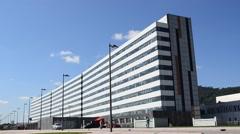 Health care Hospital exterior with blue sky - stock footage