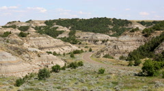 Tourists Driving Thru Theodore Roosevelt National Park Stock Footage