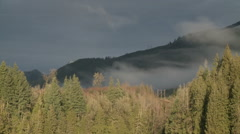 Low Clouds and Fog Drift Over Washington Mountains Stock Footage
