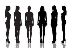 Silhouettes of naked girls full length - stock illustration