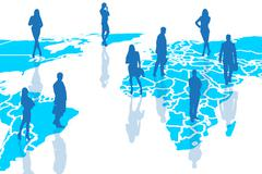 Silhouettes of people on the blue cartography. - stock illustration