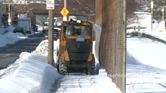 Clearing Snow from Sidewalks After Boston Snowstorm Stock Footage