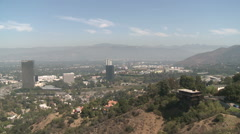 Pan of Polluted, Smoggy Air in Southern California Stock Footage