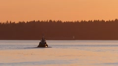 Tugboat In Amazing Evening Lighting Stock Footage