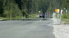 Mirage Creates Wet Roadway Illusion Hot Summer Day Stock Footage