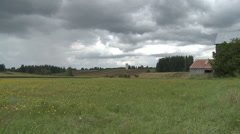 Summer Rain Shower Approaches Oregon Farm Field Stock Footage