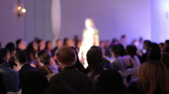 Fashion show runway model walking blur anonymous - stock footage