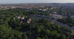 Aerial shots of Vajdahunyad Castle in Budapest, Hungary Stock Footage
