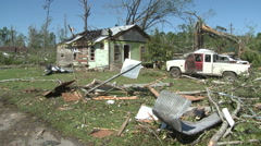 Tornado Devastation Remains as Gentle Breeze Blows - stock footage