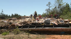 People Searching for Memories after Tornado Destroys Home Stock Footage