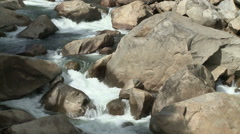 Rapids on Fast Flowing Sierra Mountain Stream during Snow Melt Runoff Stock Footage