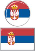 Serbian round and square icon flag. Vector illustration Stock Illustration