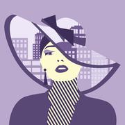 Vector double exposure illustration. Woman with city in her hat Stock Illustration