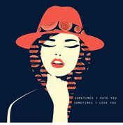 Vector double exposure illustration. Woman with red hat Stock Illustration