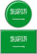 Stock Illustration of Saudi Arabian round and square icon flag. Vector illustration
