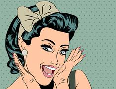 Pop Art illustration of girl - stock illustration