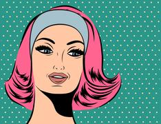 Pop Art illustration of girl with red hair Stock Illustration