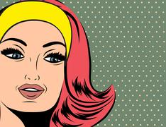 Pop Art illustration of girl with red hair - stock illustration