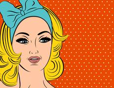 Stock Illustration of Pop Art illustration of girl with blonde hair