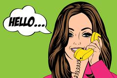 sexy beautiful woman chatting at retro phone - stock illustration