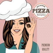 pizza advertising banner with a beautiful lady - stock illustration