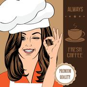 coffee advertising banner with a beautiful lady - stock illustration