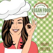 vegan food advertising banner with a beautiful lady - stock illustration