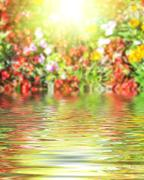 Stock Illustration of Surface Rippled of water and blur nature background
