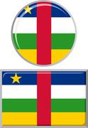 Central African Republic round and square icon flag. Vector illustration - stock illustration