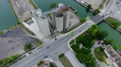 Aerial View of Toronto's Skyline and Ship Yards - stock footage
