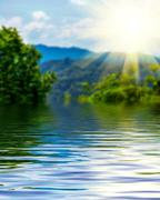 Surface Rippled of water and blur nature background - stock photo