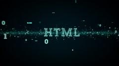 Binary Keywords HTML Blue - stock footage