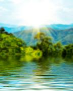 Surface Rippled of water and blur nature background - stock illustration