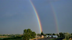 4K Double Rainbow as Storm Departs Stock Footage