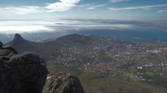 Clouds over Cape Town, South Africa Harbor Seen from Table Mountain Stock Footage