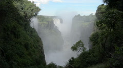 Thundering Mists at Victoria Falls on Zambezi in Zimbabwe Stock Footage