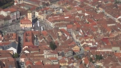 4K Aerial view Sfatului Square Brasov downtown old town tourism attraction day Stock Footage