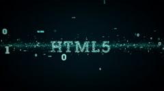 Binary Keywords HTML5 Blue - stock footage