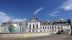 Playing fountain near Presidential Palace in Bratislava, Slovakia Stock Footage