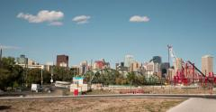 Hyperlapse of Edmonton, Alberta Skyline by Walterdale Bridge Stock Footage