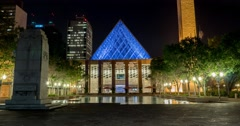 Hyperlapse of Edmonton City Hall at Churchill Square at night. Stock Footage
